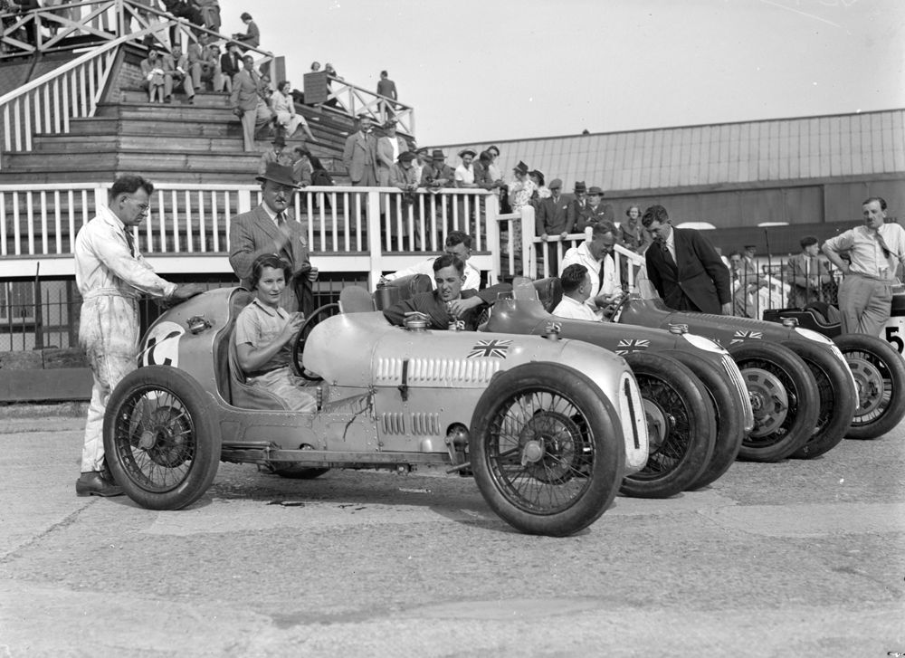 Austin 7 works team at Brooklands 1937. Kay Petre, Hadley and Goodacre.