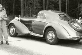 """An impressive highlight of the new exhibition at the Audi museum mobile: A replica of the """"Manuela"""", a Horch 853 Coupé. In 1937, Auto Union had this luxury car made for Bernd Rosemeyer, its most famous racing car driver."""