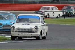 Silverstone Classic 2016,  29th-31st July, 2016, Silverstone Circuit, Northants, England.  Voyazides-Hadfield	Ford Lotus Cortina Copyright Free for editorial use only Mandatory credit – Jakob Ebrey Photography