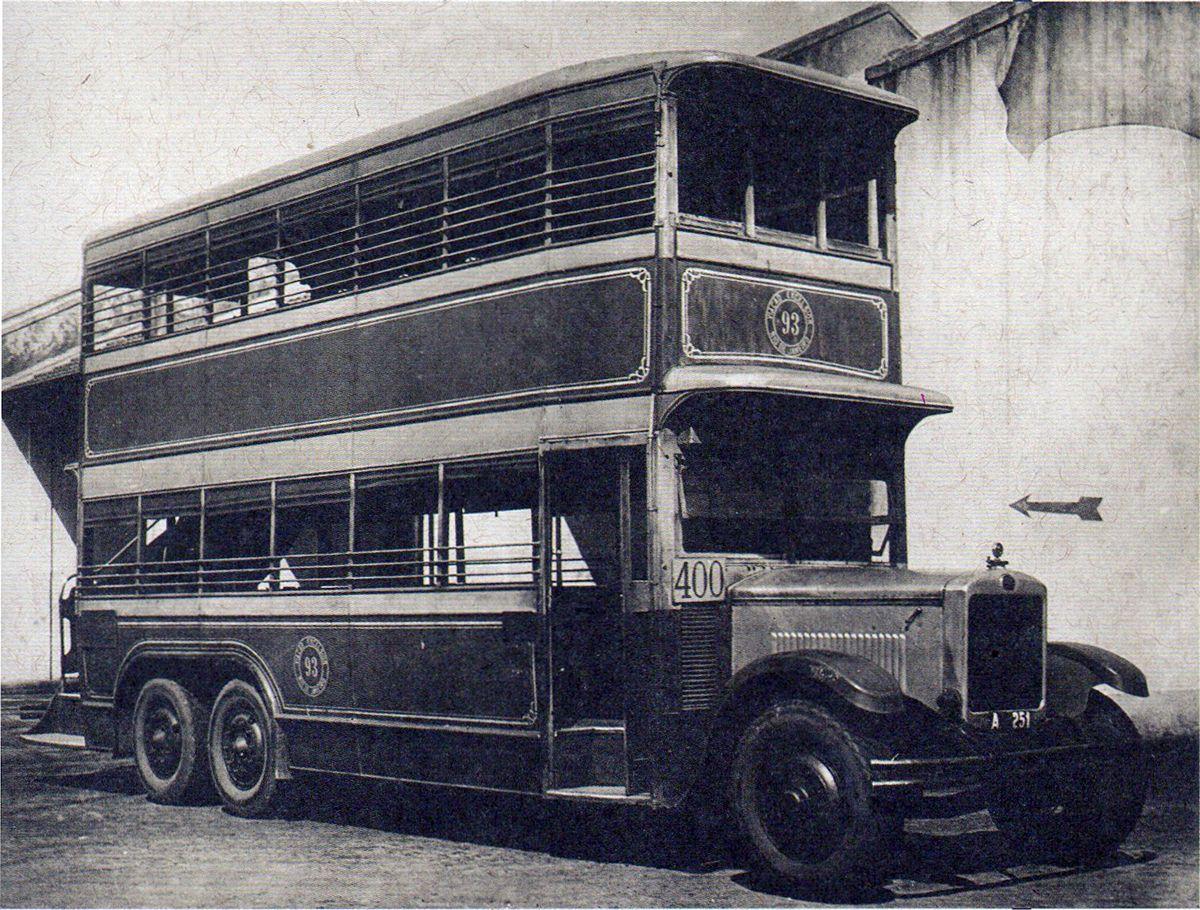 """CA - 23/05/2016 - ïnibus Imperial """"chopp duplo"""", com chassi Guy e motor Daimler, usado pela Via‹o Excelsior, da Light, entre 1925 e 1941"""