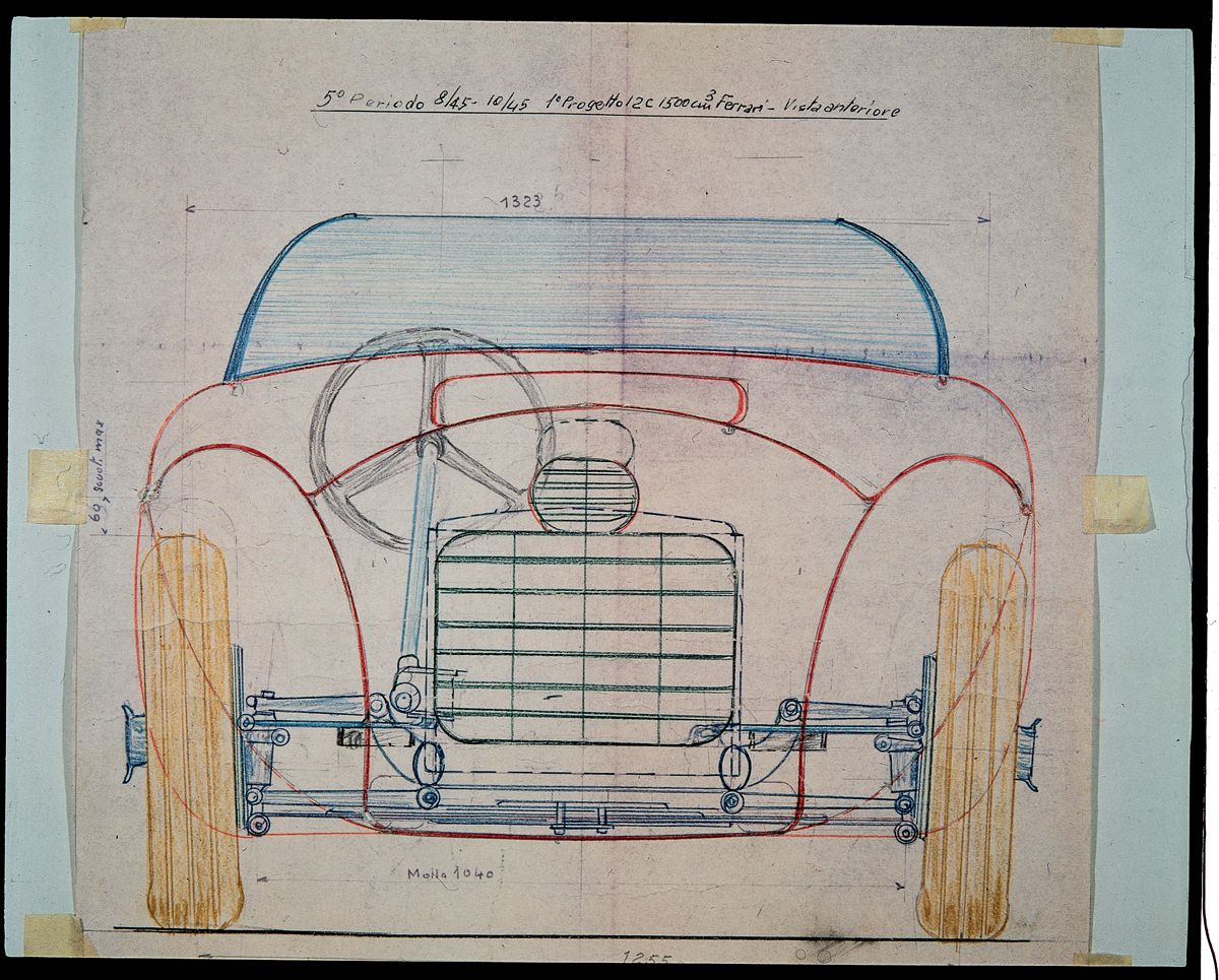 17. Front View with mechanical transparency of the first Ferrari car, the 125 S. - Project of Gioachino Colombo carried out in August-October 1945