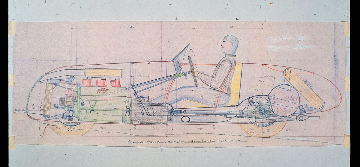 19. Side view with the mechanics in the transparency of the first Ferrari car, 125 S. - Gioachino Colombo's project executed in August 1945