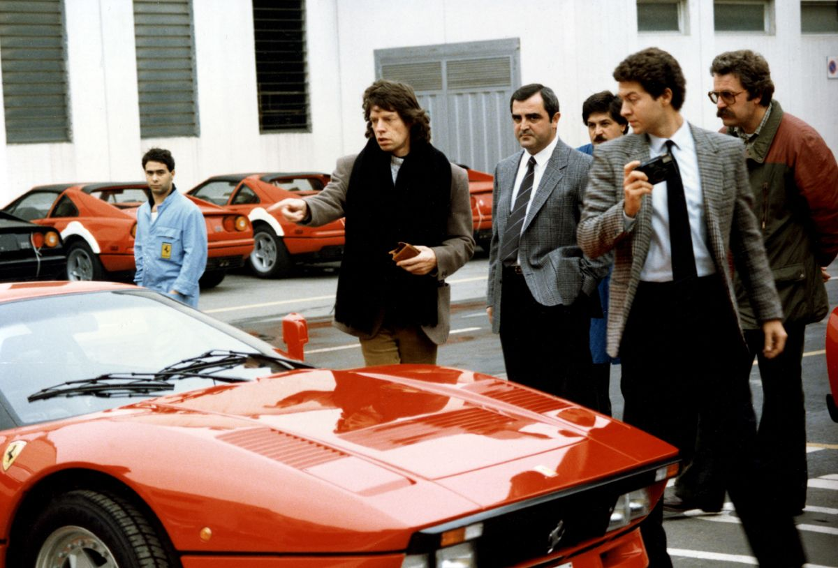 30. Visit to Ferrari - Mick Jagger, leader of the Rolling Stones, on the delivery of his GTO
