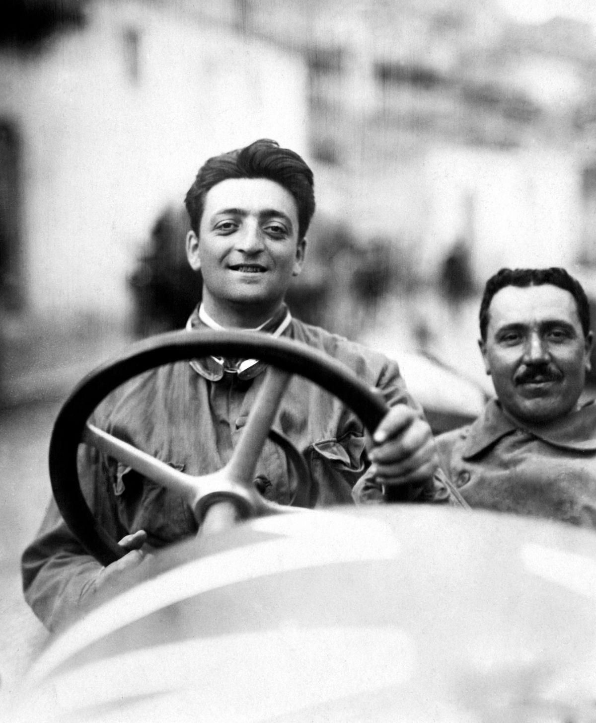 9. Enzo Ferrari at the Targa Florio in 1920. - The car is an Alfa Romeo 40-60 HP Racing Type