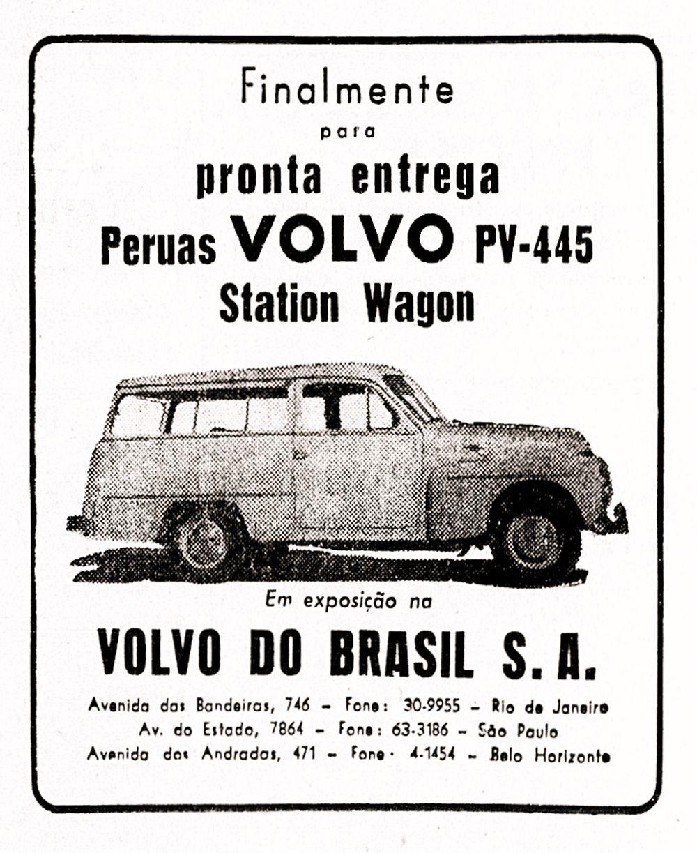 CA - 21/08/2017 - Coluna Retrovisor - Anœncio da camionete Volvo PV-445 sueca com carroceria desenhada e produzida pela Carbrasa em Parada de Lucas, no Rio - Reprodu‹o / 12 de setembro de 1956