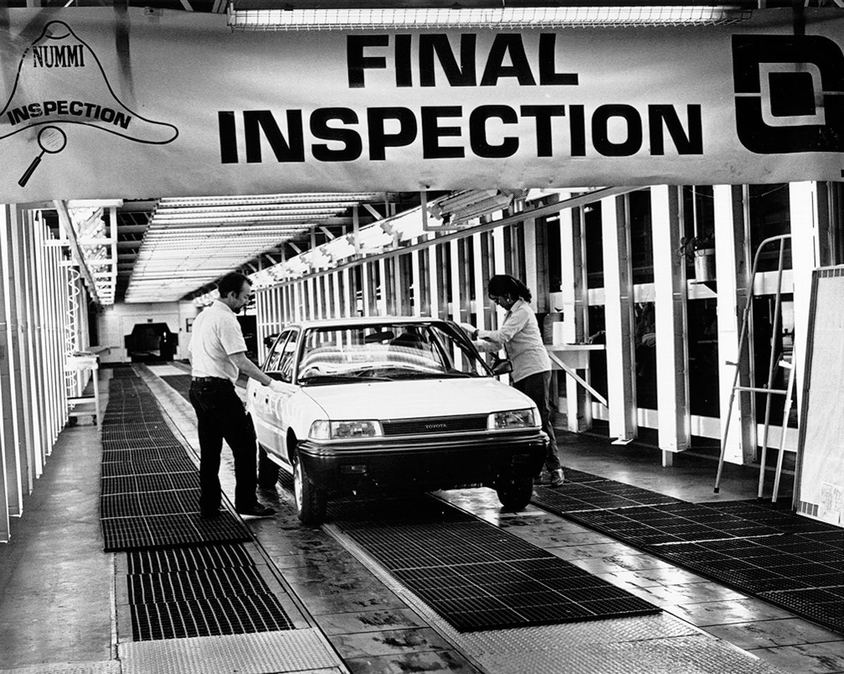 In the mid 1980s, Toyota teamed up with General Motors to form New United Motor Manufacturing, Inc (NUMMI), an automobile plant in Fremont, California. In 1985, the first Toyota vehicle produced in America, a Corolla, rolled through its final inspection at NUMMI.