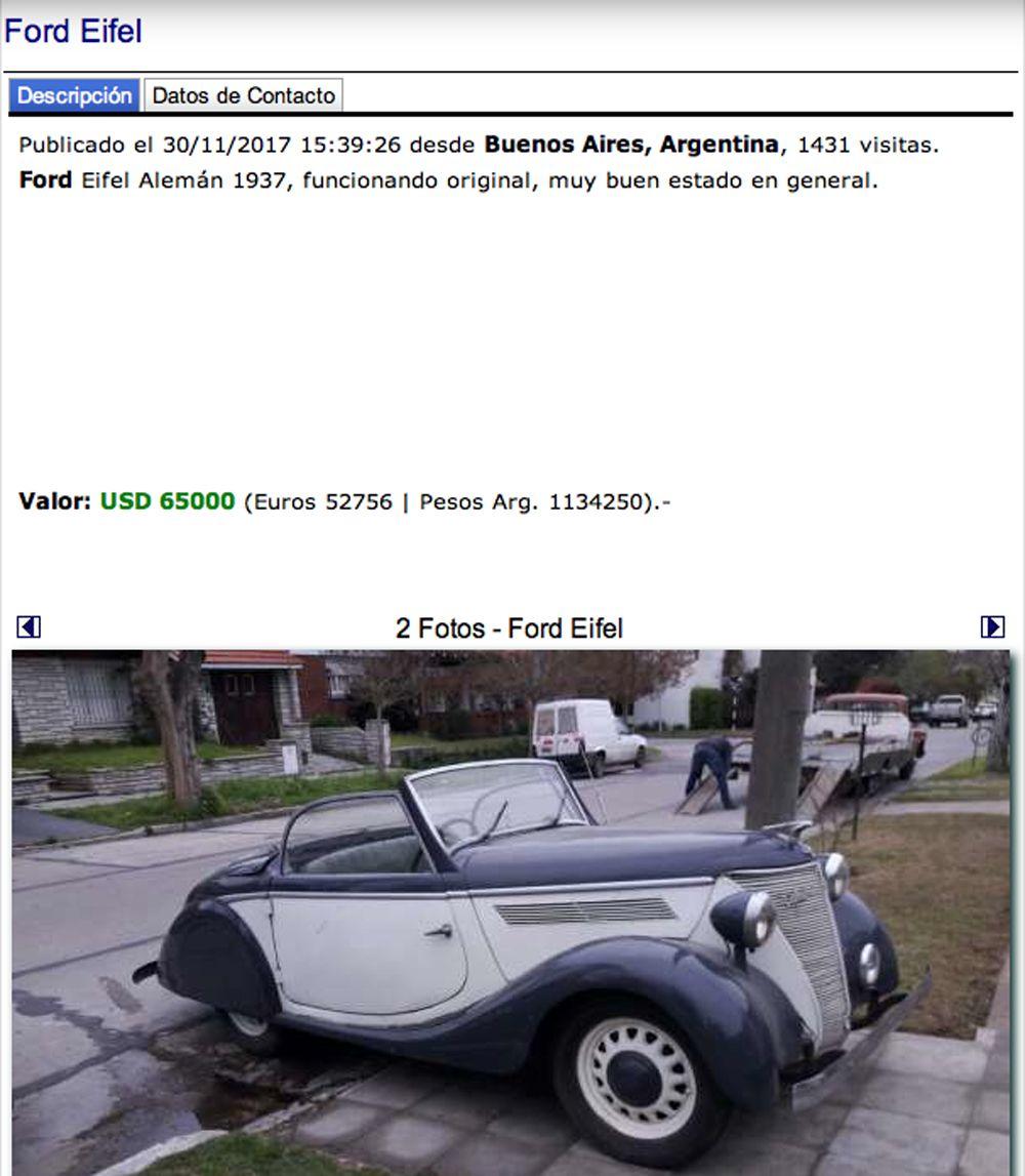 Ford Eifel captura pantalla arcar