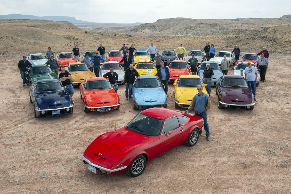 Gruppenbild im Südwesten der USA anlässlich des 50. Opel-GT-Geburtstages, Mai 2018.