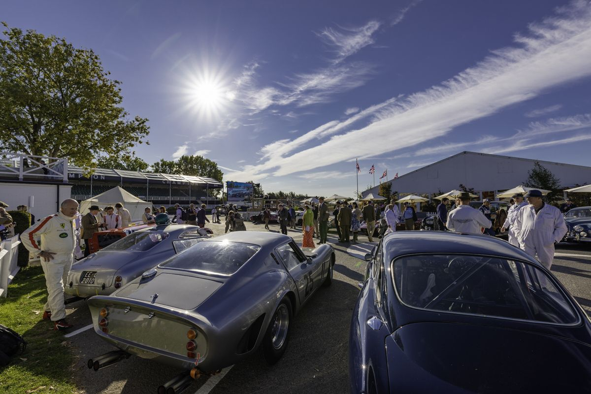 The assembly area before practice in the Kinrara Trophy at the 20th anniversary Goodwood Revival at Goodwood Motor Circuit near Chichester, West Sussex. Picture date Friday 7th September, 2018. Picture by Christopher Ison. Contact +447544 044177 chris@christopherison.com