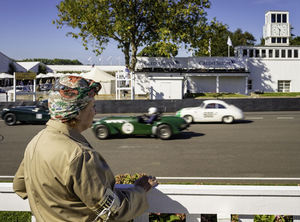 The contestants in the Fordwater Trophy head out onto the track at the 20th anniversary Goodwood Revival at Goodwood Motor Circuit near Chichester, West Sussex. Picture date Friday 7th September, 2018. Picture by Christopher Ison. Contact +447544 044177 chris@christopherison.com