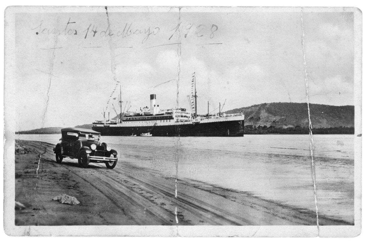 Cap Norte en Santos 1928 postal anverso_Brasil
