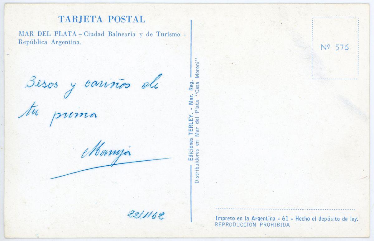 Playa Grande postal reverso_Mar del Plata_Argentina