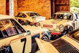 Treffen zum 40-jaehrigen Jubilaeum der HEIGO Porsche in Mitterfels, Bayern. Die 4 HEIGO Porsche in der Garage von Udo Mueller.