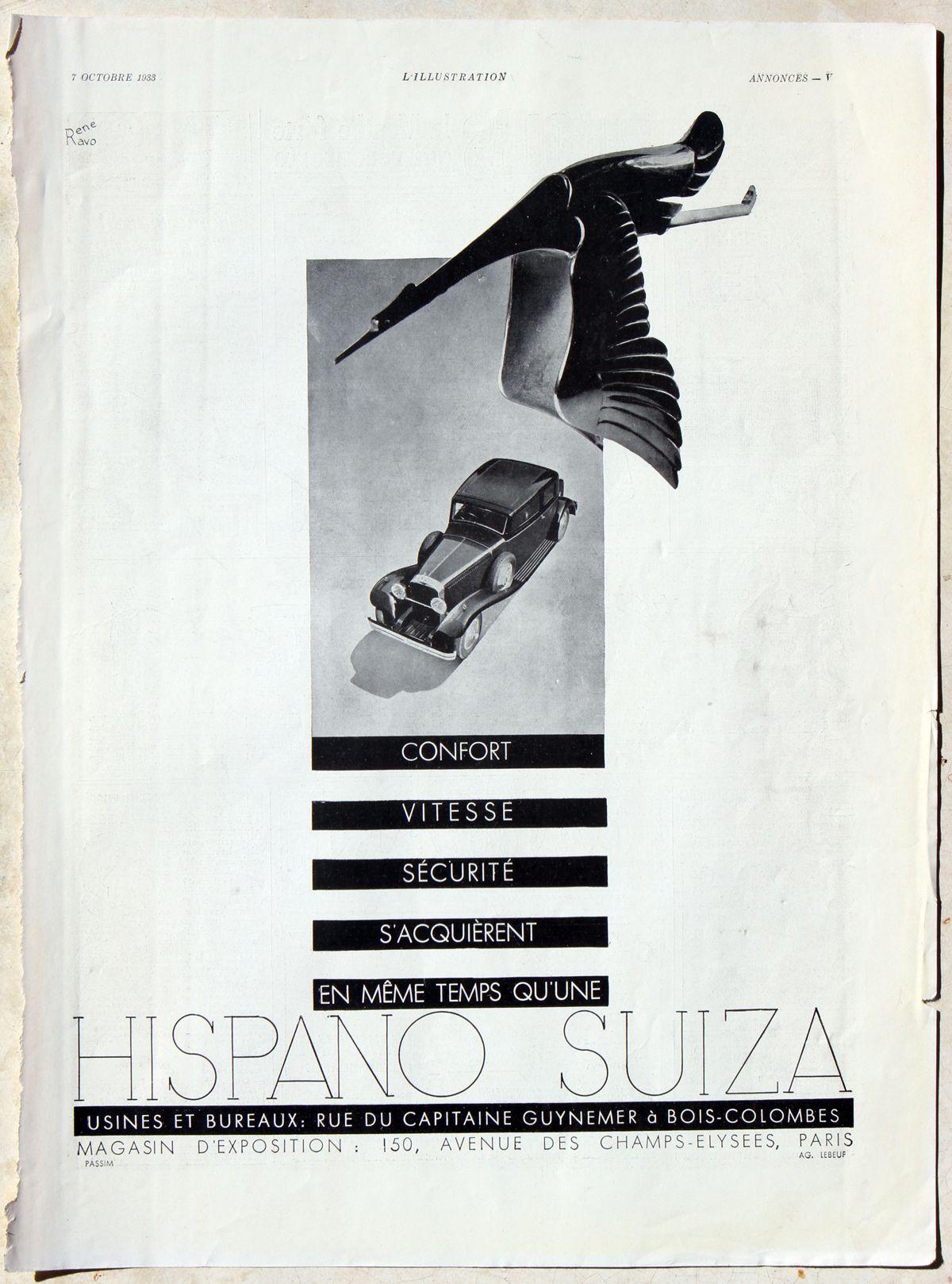 Hispano-Suiza cigueña_Illustration_Octubre 1933_Francia