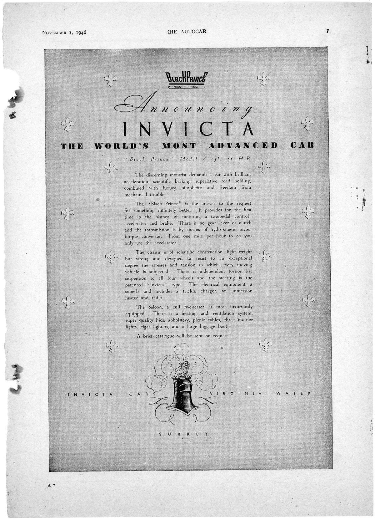 Invicta Black Prince_The Autocar_Nov 1 1946_Inglaterra
