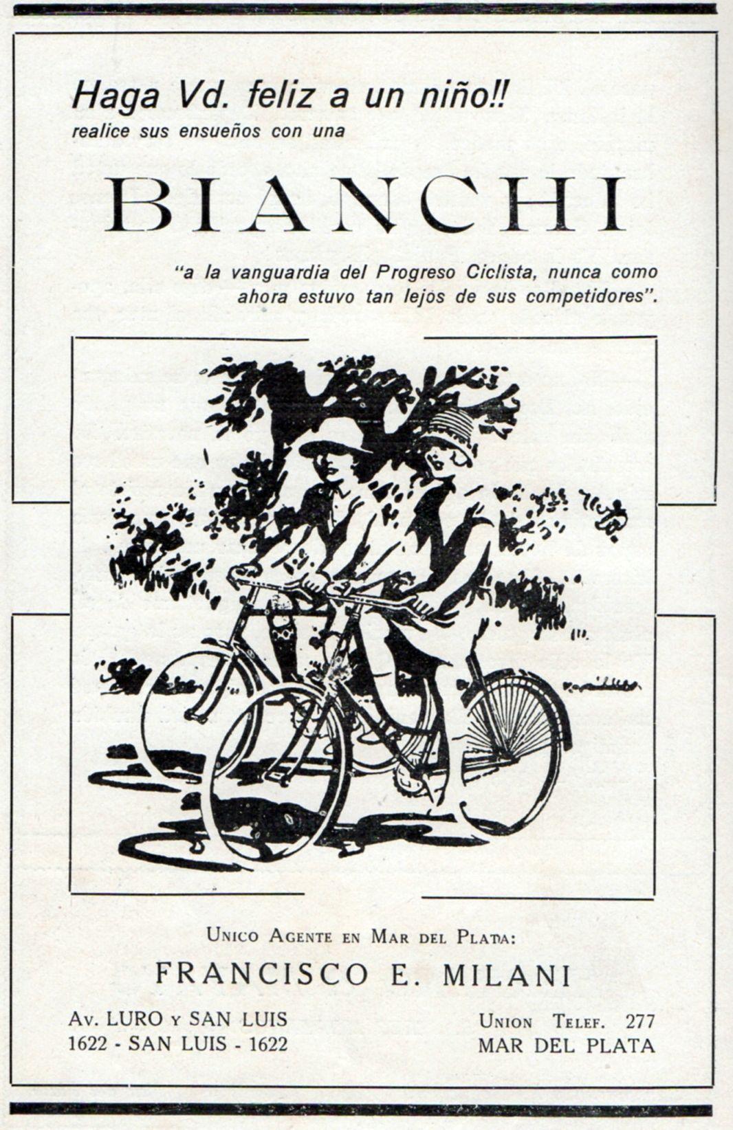 Publicidad Bicicleteria Bianchi 1929 Guia Social
