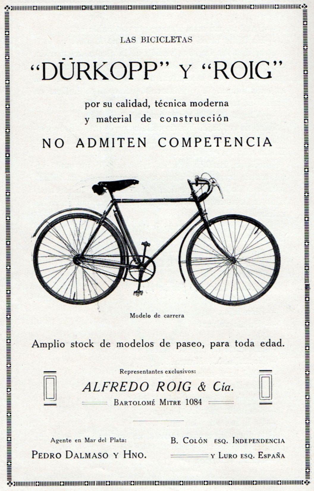Publicidad Bicicleteria Durkopp y Roig 1929 Guia Social