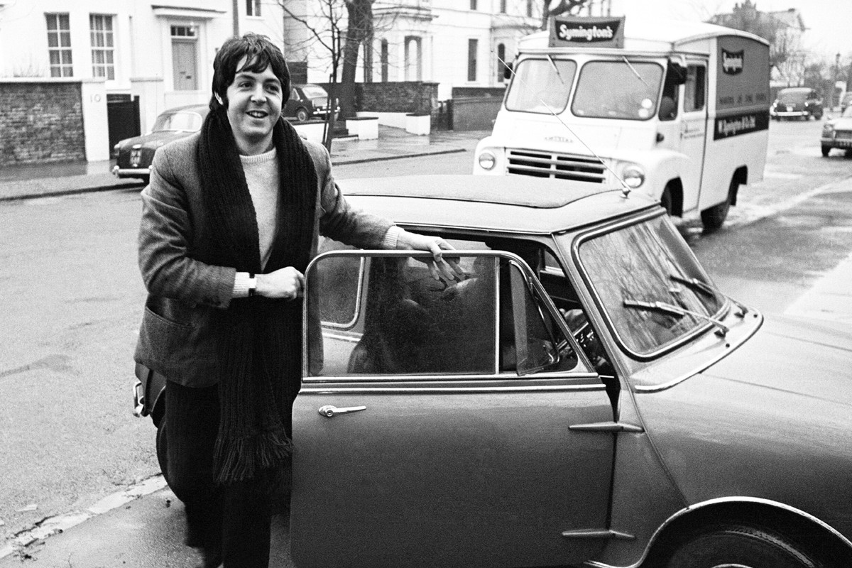 Paul McCartney of the Beatles with his mini car 27th December 1967 (Photo by Wilson/Mirrorpix/Mirrorpix via Getty Images)